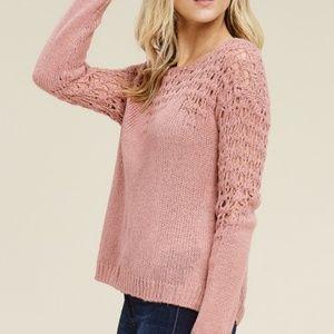dusty pink crochet sweater waist length long sleev